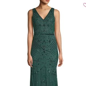 Adrianna Papell Beaded Gown, Green Sz 14 NWT